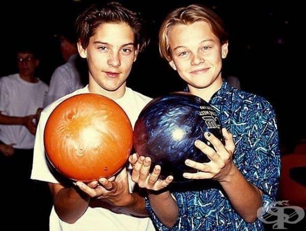 Приятели от деца: Тоби Магуайър и Леонардо ди Каприо.