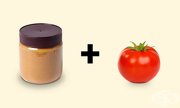 Фъстъчено масло с домат. Намажете филия хляб с фъстъчено масло и разпределете резени домат отгоре. Изненадващо, но много хора наистина харесват тази вкусова комбинация.