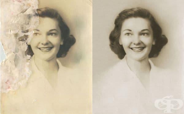 Единствената снимка на майката на клиента от нейната младост.