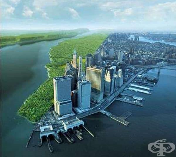 Контрастна снимка, показваща Манхатън с разлика от 400 години. Отдясно е Манхатън днес, а отляво - как е изглеждал преди 400 години.