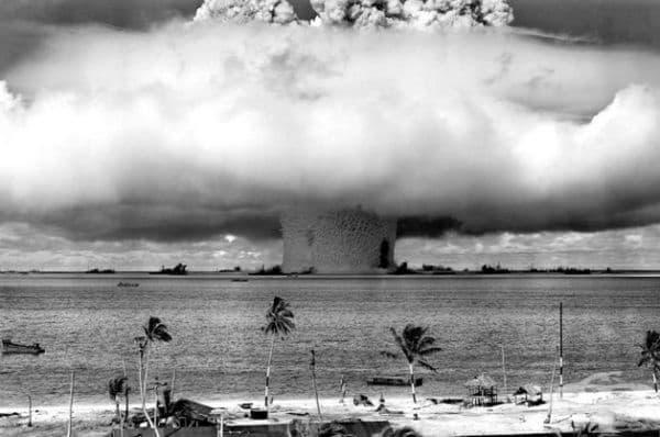 Първата снимка на експлозия на атомна бомба, 1945 г.