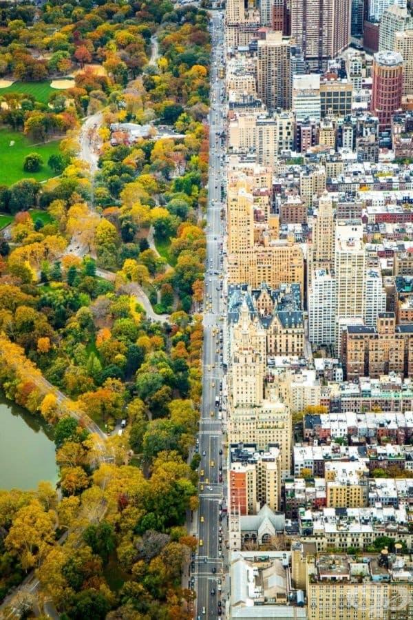 Разделителна линия между два свята. Ню Йорк, САЩ.