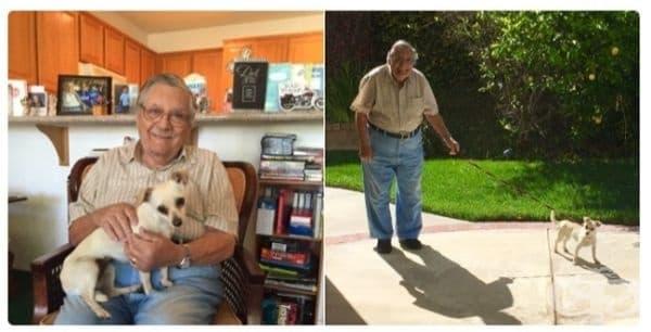 Моят дядо си взе куче и сега непрекъснато ми изпраща негови снимки.