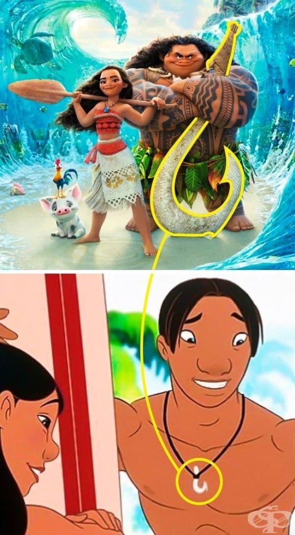 """""""Смелата Ваяна"""": Изглежда ли ви позната куката на Мауи? Виждали сме я в """"Лило и Стич"""" - върху огърлицата на Дейвид."""