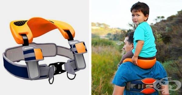 Седалка за детето на раменете на родителя.