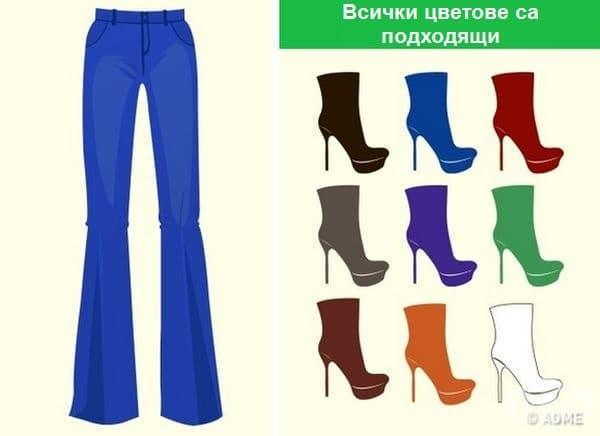Универсални панталони. На всички нюанси на синьото (включително и дънките) подхождат всички цветове.