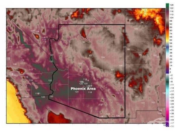 Аризона е толкова гореща върху метеорологичната карта, че почти изчерпва нейните цветове.