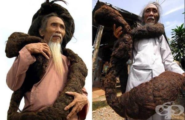 Тран ван Хай – мъжът с най-дългата коса в света. Виетнамецът не се е постригвал повече от 50 години и днес косата му изглежда като 6-метрова змия. с тегло над 10 кг.