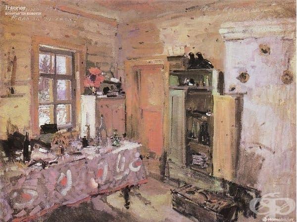 """""""Интериор"""" от Константин Коровин. В интериора е изобразена кухнята на Константин Коровин от 1913 г."""