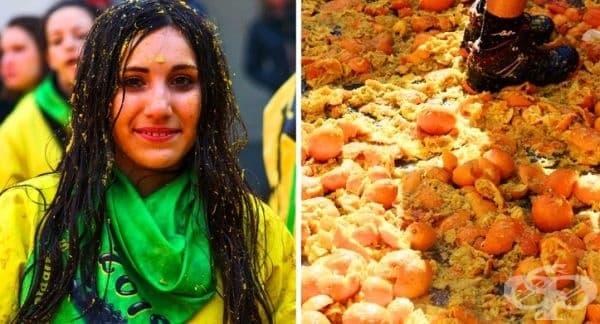 Битка с портокали, Италия. Този фестивал е подобен на La Tomatina в Испания, но заменен с портокали. Хората унищожават около 250 тона плод по време на битката. За да си представите колко е това – повече от 2 пъти теглото на синия кит.