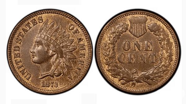 """Цент с индианец и с двойна дума """"Liberty"""" (1873).Цена: 10,000 $. Един такъв цент от 1873 струва между 20 и 450 долара. Но екземпляр с удвояване на думата в шапката или """"затворена"""" тройка се счита за голяма рядкост."""
