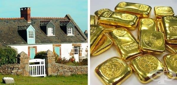 Мъж наследява къща в Нормандия. Открива в нея кутия със златни монети, злато и златни пръчици на стойност 3,7 млн. долара. Законът там налага наследствен данък от 45% от находките.