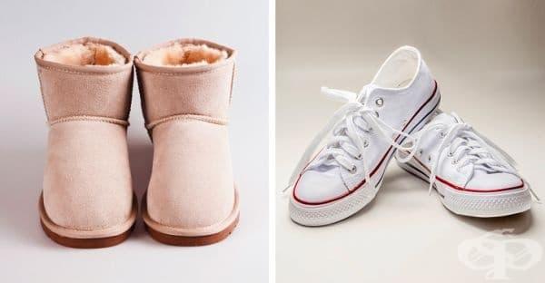 Кецове и обувки от кожа. Подобни ботуши могат да бъдат изпрани в студена вода на деликатен режим. При маратонки и кецове е добре да отстраните предварително грубата мръсотия и връзките. След това изперете обувките в мрежичка на програма с ниски градуси.