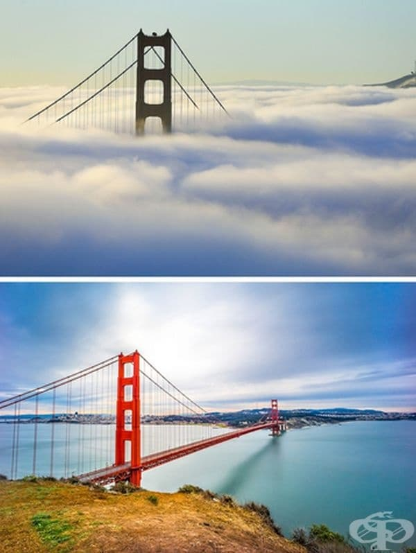 """Мостът на """"Голдън Гейт"""" по време на мъгла."""