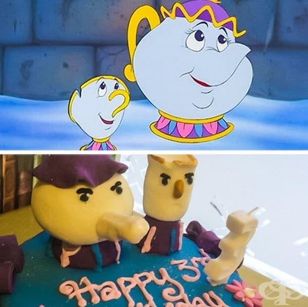 Г-жа Потс и Чип на картинка и на торта.