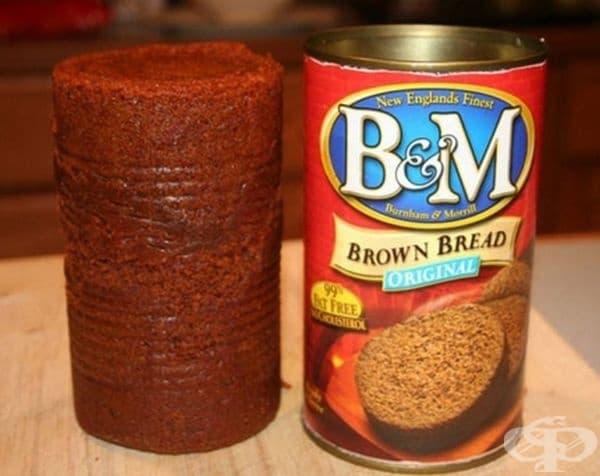 Консервиран хляб. Кафявият хляб на B & M е готово за консумация ястие, приготвено от естествени съставки. Можете да се ядете студено или затоплено. Гарнирано е с масло, конфитюр или крема сирене.