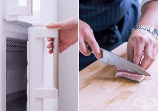 Поставете във фризера за 10 минути меки или мазни продукти. Това ще ви помогне да ги нарежете на равни парчета.