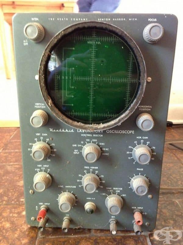 Осцилоскоп. Инструмент за наблюдение изменението на електрическото напрежение във времето, а също и за измерване стойностите на това напрежение.