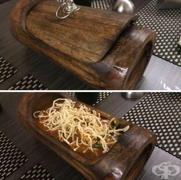 Спагети в дървен пън.