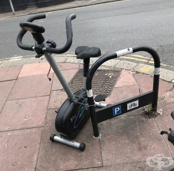 Предвидливо, за да не откраднат велоергометъра ви.