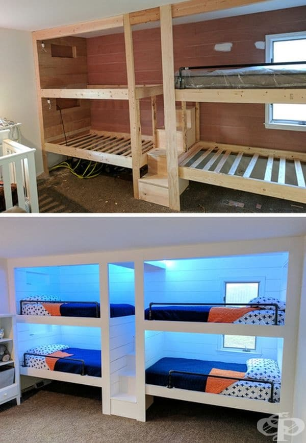 Легло за четирима. Изработката на такова легло не е лесно, но резултатът наистина си заслужава, защото всяко дете получава своето собствено пространство.