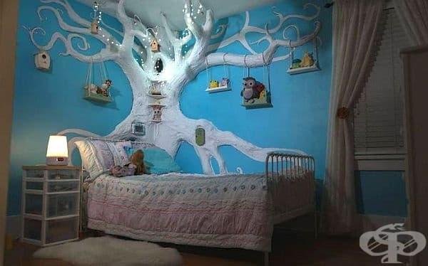 Понякога изграждането на дърво е с идеята за създаване на вълшебство в стаята на малки деца. Тук то е с предназначение на рафтове.