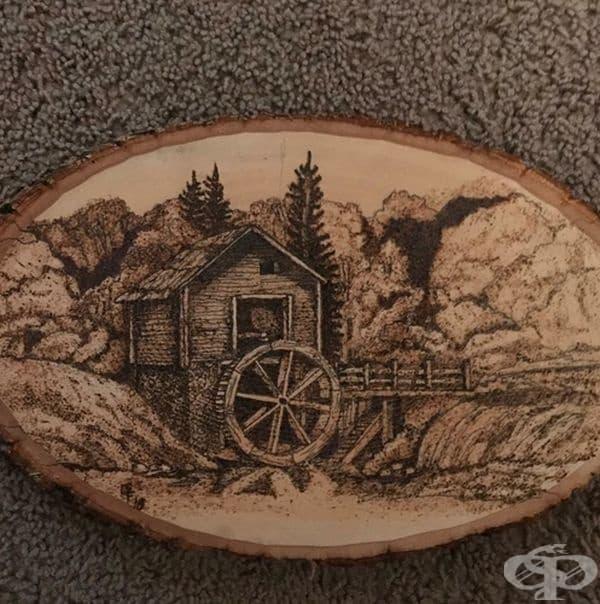 """""""Приятелят ми спря алкохола преди 3 месеца. Сега прави картини върху дърво, за да преодолее желанието си да пие. Това е последната му творба до сега."""""""