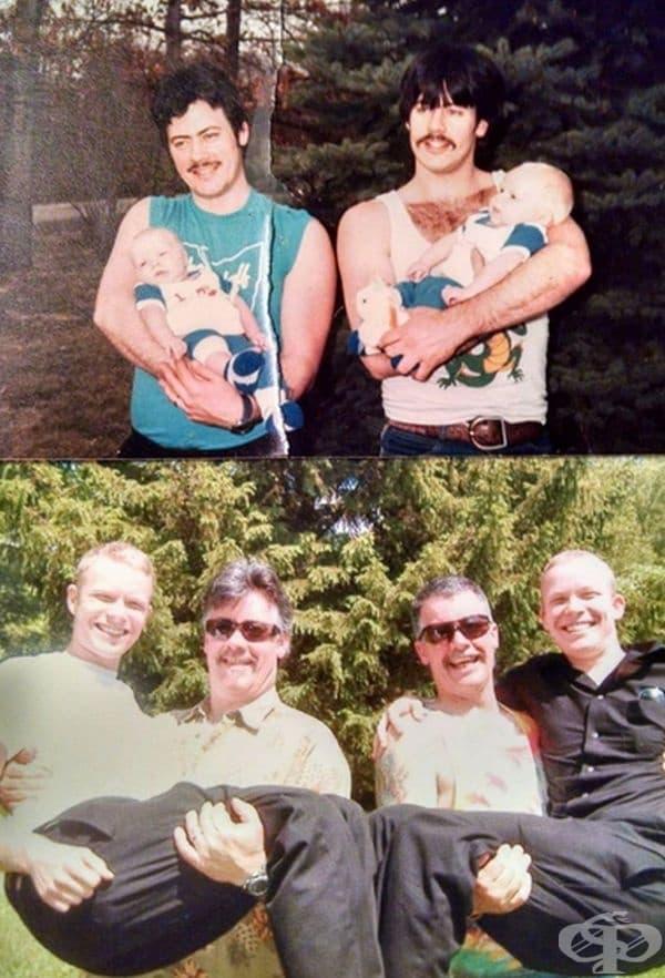 Близнаци, държащи близнаци през 1987 г. На втората снимка са порасналите близнаци, които също носят близнаци, 2017 г.