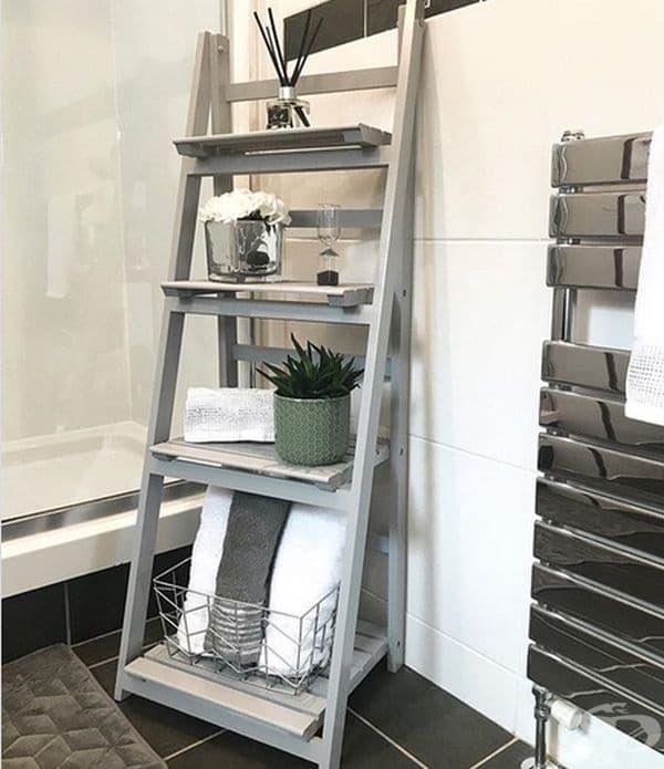 Намерете идеалната форма на рафт. Рафтовете идват във всички форми и размери и не е трудно да се избере нещо по ваш вкус, като например като тази стълба.