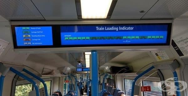 Екранът показва кои вагони за празни и кои не.