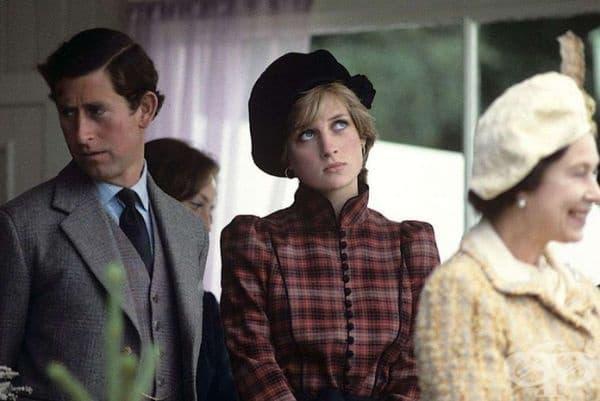 19-годишната принцеса Даяна, принц Чарлз и кралица Елизабет II, 1980 г.
