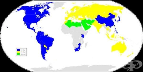 Първият работен ден от седмицата в различните страни. Синият цвят е неделя, жълтияте - понеделник, а зеленият е събота.