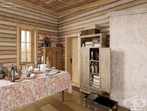 Като водещ руски художник импресионист, Коровин визуализира голи стени и дървен под с меки, пастелни цветове. Той се фокусира върху функцията над формата и подчертава използването и стойността на всеки елемент.