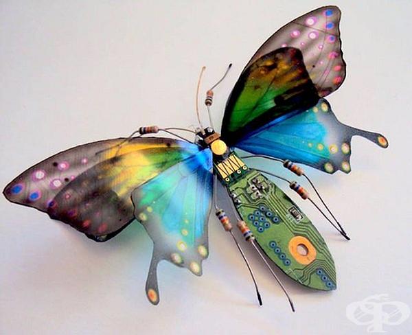 """""""Computer Component Bugs"""" е името на нейния проект. Причудливите, красиви крилати насекоми, изработени от стари електронни компоненти, изпращат интелигентно послание, че рециклирането на стари и нежелани вещи е стъпка към опазването на околната среда."""