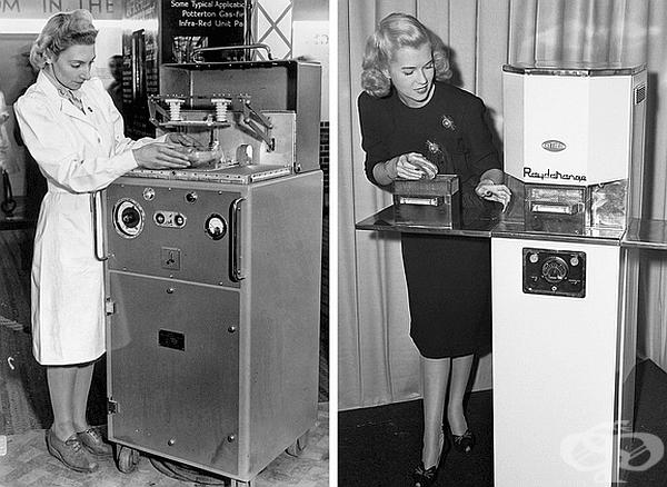На тази снимка (1946-1947 г.) жените използват първите търговски версии на микровълновите фурни. Те са били много обемисти и тежки (340 кг), тъй като са се нуждаели от много голяма охладителна система. Цената им е била 5000 долара.