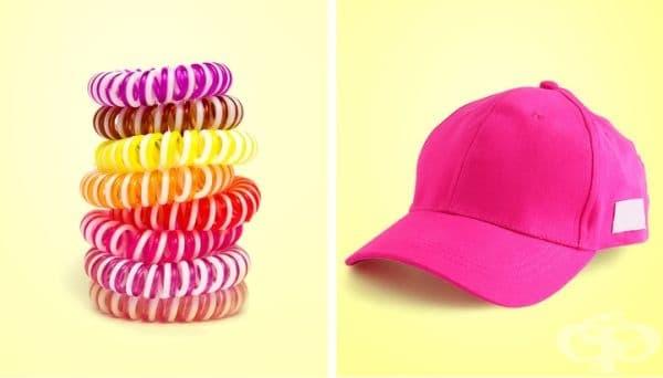 Шапки с козирка и аксесоари за коса. Тези аксесоари могат да се изперат в мрежичка, със студена вода на деликатна програма. Не поставяйте шапки, чиито козирки са направени от картон.