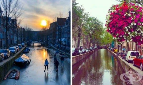 Граждани се пързалят с по замръзналите канали в Амстердам, март 2018 г.