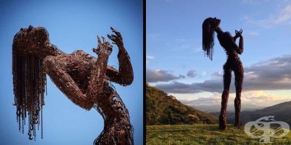 """Гигантската скулптура """"Екстаз"""" на Карън Кусолито е направена от преработена стомана. Нейните очертания, жестове и извивки демонстрират женската природа и разкриват съмненията и желанията на настоящето."""