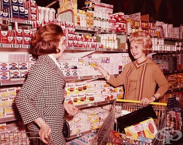 1970 г. Две жени пазаруват в американски супермаркет.