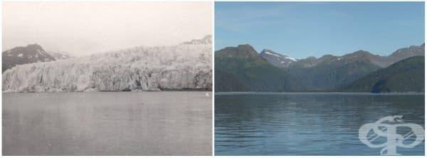Ледник МакКарти, Аляска (юли 1909 - август 2004).