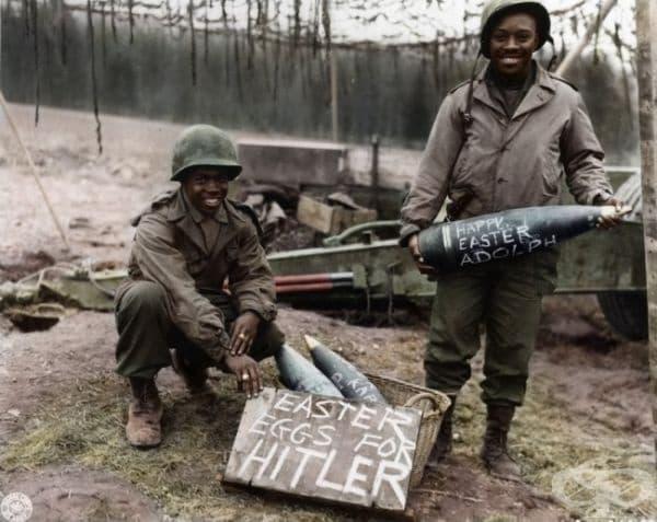 Войници по време на Втората световна война, Великден 1944г.   (оцветяването е добавено впоследствие).