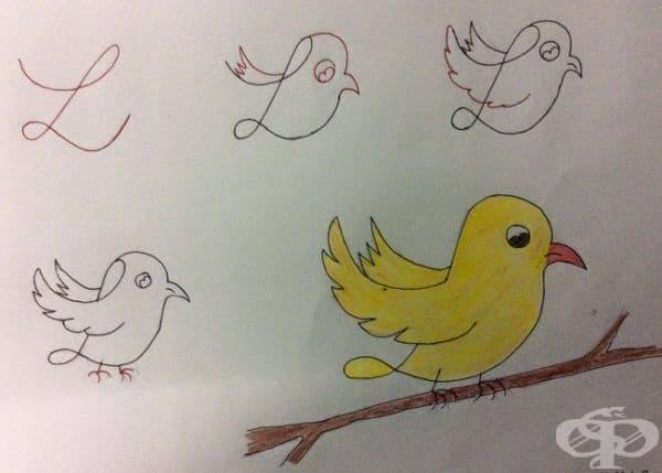 L - ще ви помогне да нарисувате симпатична птичка.