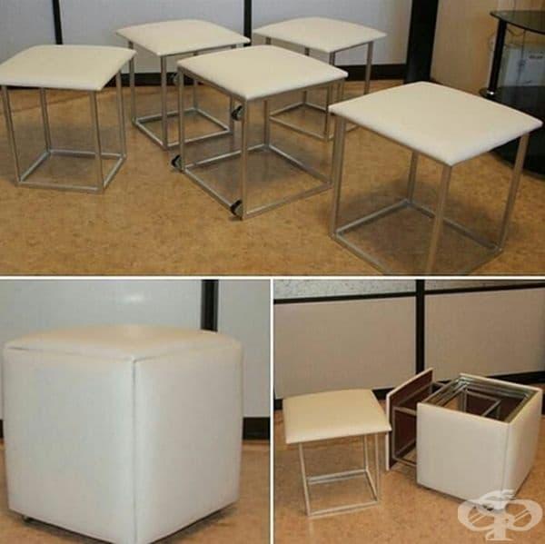 Когато не са необходими тези столове се превръщат в компактна табуретка.