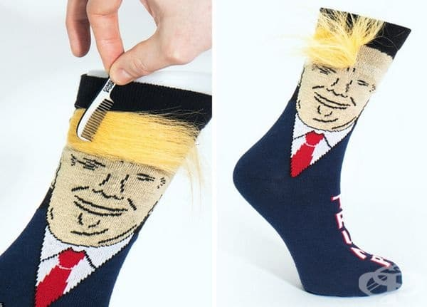 Чорапи с Доналд Тръмп. Спокойно може да му направите различна прическа.
