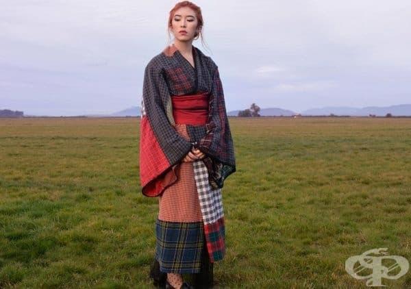 Тази жена е наполовина шотландка, наполовина японка. Кимоното е ръчно ушито от мъжки ризи и боксерки.