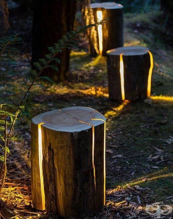 Осветителни тела от нацепени пънове, Дънкан Мирдинга.