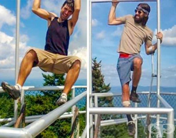 """""""Бях запален турист, докато туморът на гръбначния стълб ме остави частично парализиран. След 5 години възстановяване, се отправих към моята любима планина, за да пресъздам тази стара снимка."""""""