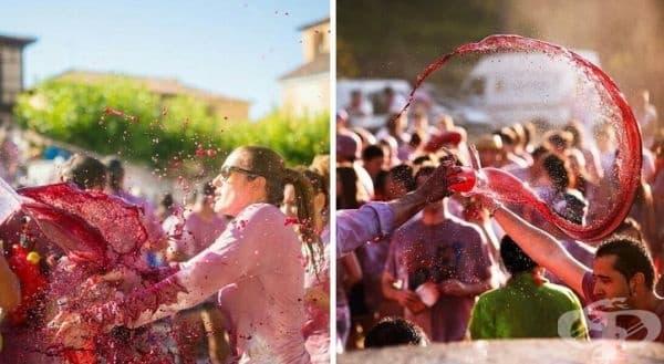 Битка с вино, Испания. Целта на тази борба е да се покрият всички хора с вино и да не останат такива, които са с бели дрехи. По време на фестивала се използва огромно количество вино - повече от 500 литра червено вино.