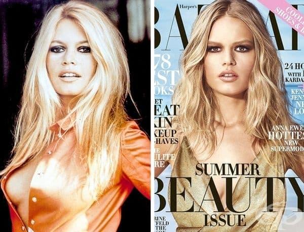 """Бриджит Бардо/Анна Евърс. Германският топ модел Анна Евърс често е наричана """"новата Бриджит Бардо"""". Приликата между двете е наистина впечатляваща: буйна руса коса, изразителни устни, тъмни очи. Подобна красота се среща много рядко."""
