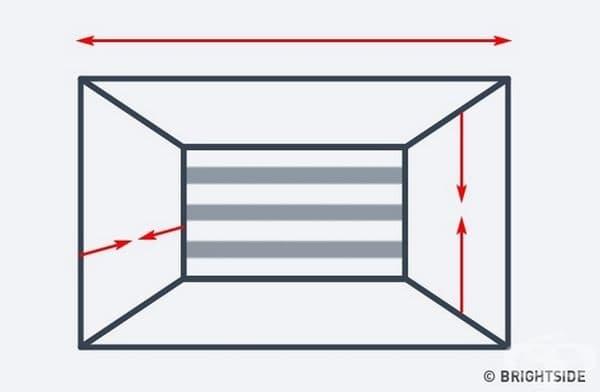 В стая с твърде висок таван използвайте хоризонтални ивици, за да намалите визуално височината на стаята. По този начин ще намалите малко и дълбочината на помещението.